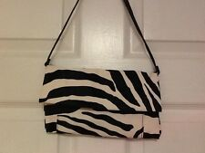 ladies handbag Payless Shoesource zebra pattern small black white clutch new H15
