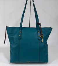 FOSSIL Jenna Leather Tote DARK TURQUOISE