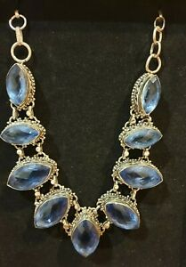 FACETED TANZANITE Coloured Topaz 925 INDIAN SLIVER NECKLACE