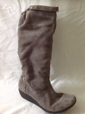 Clarks Brown Knee High Suede Boots Size 6
