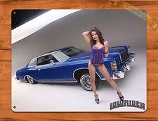 """TIN-UPS TIN SIGN """"Low Rider Car Calender Girl"""" Vintage Car Pin Up Garage Auto"""