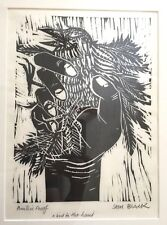 Signed Sam Black Woodcut Print - A Bird in the Hand - Printer's Proof - Raven