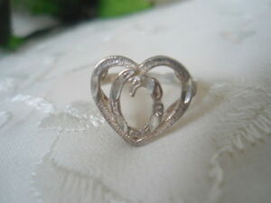 "Vintage State STERLING 925 SILVER Initial ""O"" HEART RING Size 7.25"
