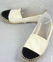 Tory Burch 51148417 Wos Shoes Espadrilles US 8.5 M White Black Textile Flats 161