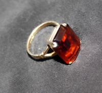 Vintage Amber Topaz Cocktail Ring, Emerald Cut Glass AVON, Gold Tone 8 1/2-9