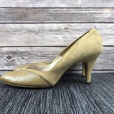 e01256aeb034 Johansen Tan Camel Leather and Suede Heels Size 7 A Narrow Vintage 60 s  Style