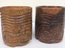 Wood  Carved Tiki Mug Cup Beer Tropical Drinks Hawaiian Island