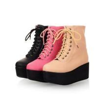 Women Lace Up Wedge Heel Platform Ankle Flatform Boots Punk Round Toe Shoes
