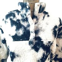 Wild Fable Teddy Jacket Sherpa Size XS Coat White Blue Marbled Pullover Pockets
