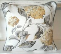 "cushion cover laura ashley fabric print  camomile   hydrangea 18"" grey  piped"