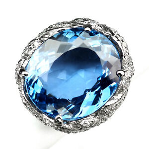 TOPAZ SWISS BLUE OVAL 33.10 CT. SAPPHIRE 925 STERLING SILVER RING SIZE 7 GIFT