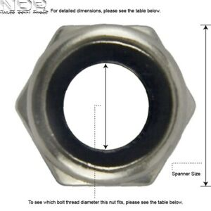A4 Marine Grade Stainless Steel Nyloc/Nylon Nuts - Type T - *ALL SIZES*
