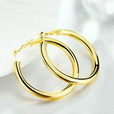 Chunky 9ct Yellow Gold Plated Smooth Round Hoop 50mm Earrings New Uk