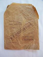"ANTIQUE EDWARDIAN ""ROWBOTHAM"" CROYDON MILLINERS LADIES OUTFITTERS PAPER BAG"