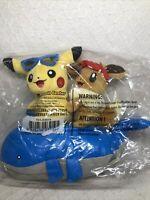 "Pokemon Center 12"" Pikachu & Eevee Let's Go Summer Days Plush Toy - RARE & HTF!"