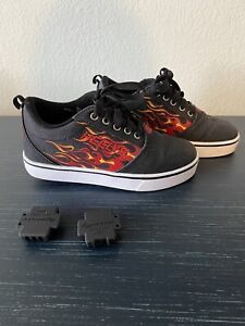 Boys Size 4 Youth Heelys Black Pro 20 Prints Red Flames