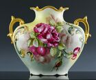 BEAUTIFUL LARGE ANTIQUE LIMOGES ARTIST HAND PAINTED ROSES FRENCH PORCELAIN VASE