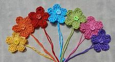 x7 Crochet Flowers RAINBOW Mix Appliqués Button Embellishments Decorations