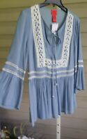 V Cristina Tunic Blue Peasant Embellished Crochet Front 3/4 Bell Sleeve NWT$114