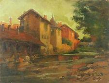 A. DUBIEZ(XIX-)Huile sur panneau signée paysage Landschaft countryside landscape