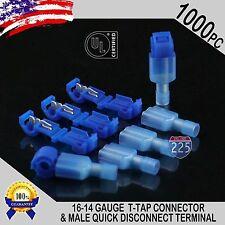 (1000) T-Taps + Male Disconnect Wire Connectors Blue 16-14 Gauge Terminals UL