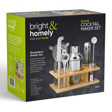 10pc Cocktail Maker Set Shaker Glass Bar Spoon Strainer Tong Bottle Opener Stand