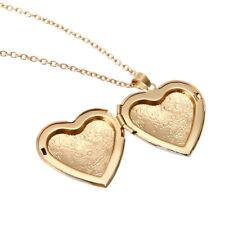 Retro Heart Carved Necklace Locket Mini Photo Frame Box Pendants Fashion Jewelry