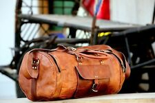 "24""Men's genuine Leather luggage gym Round overnight duffel vintage Large Bag"