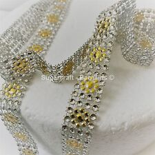 BLING RIBBON SPARKLY Cake decorating Card craft mesh hearts mesh GOLD DAISY NEW