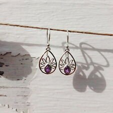 491 Amethyst lotus flower solid 925 sterling silver earring $49.95