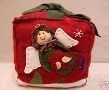 Christmas Angel Throw Pillow Holiday Decor Felt Applique Red Green