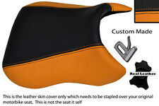 ORANGE & BLACK CUSTOM FITS PEUGEOT XR6 50 FRONT RIDER LEATHER SEAT COVER