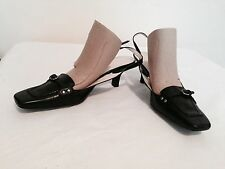 BANDOLINO BLACK LEATHER SLINGBACK KITTEN HEEL ROUND TOE PUMPS SHOES 6.5 M NEW