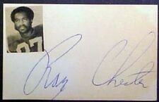 "RAYMOND CHESTER ""OAKLAND RAIDERS"" AUTOGRAPHED INDEX CARD"