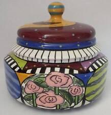 Prospero Designworks Hand Crafted Large Covered Bowl Canister Multi Color