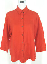 Ralph Lauren Top Sz L Womens Linen Blood Orange Blouse Shirt Monogram Logo