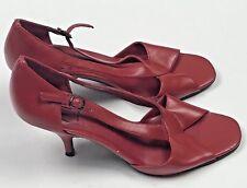 Ann Marino Open Toe Heels Womens Size 6 1/2 M Red Shoes