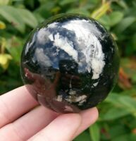 "54mm BLACK TOURMALINE w QUARTZ Sphere ""Grounding"" Crystal Reiki 9.4oz!"