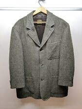Luciano Barbera Hunter Green Wool Tweed Calvary Twill Lined Car Coat Italy EUR54