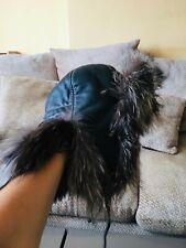 Superb Leather Trapper Hat With Fox Fur Trim