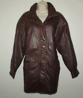 Vintage 80S Brown Leather CRUSE Zip Slouch Hip Length Jacket Size 14 / 42 Boho