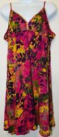 Lucky Brand Sleeveless Dress L Knee Length Pink Floral Cotton Adjustable Straps