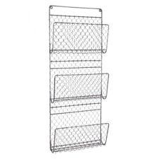 Wall Mounted Black Metal Home Office Magazine Newspaper Book Basket Rack Storage
