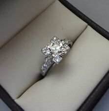 FIERY ANTIQUE PLATINUM 1.06 CT MINE CUT DIAMOND RING W SIDE ACCENTS - 1.26 TCW