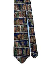 Alynn EX LIBRIS Men's 100% Silk Necktie Neckwear Library Teacher Books Trophies