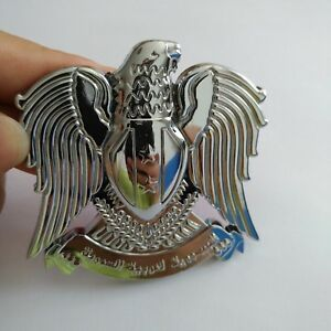 1x Silver Color Hawk Eagle 3D Car Auto Emblem Badge Sticker Decal Chromed Metal