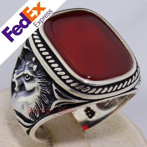 Natural Red Agate Stone 925 Sterling Silver Turkish Men's Horse Ring All Sizes