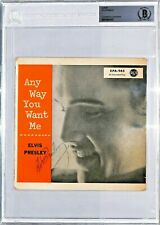 "ELVIS PRESLEY Signed ""Any Way You Want Me"" 45 Vinyl Album Sleeve JSA & BAS SLAB"