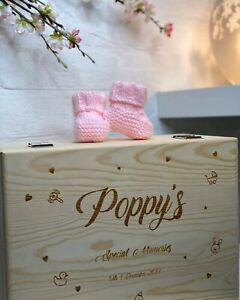 Large Wooden Personalised Baby Memories Keepsake Box