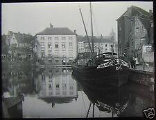 Glass Magic Lantern Slide CANAL SCENE & BARGE NO2 C1920 PHOTO NETHERLANDS ?